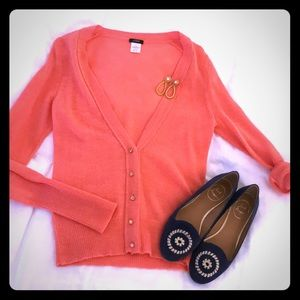 J crew Bling Button coral cardigan!